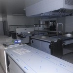 passe plat Zone de préparation en cuisine professionnelle